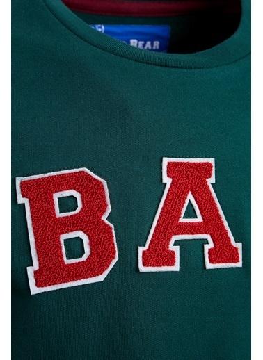 Bad Bear Bisiklet Yaka Baskılı Erkek Sweatshirt Yeşil